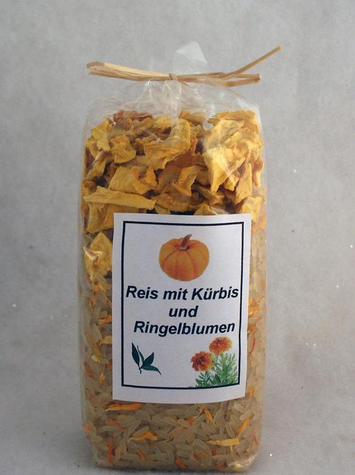 Reis mit Kürbis und Ringelblumen