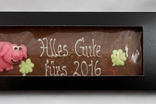 Schokoladen Tafel beschriftet