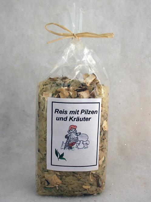 Reis mit Pilzen und Kräuter