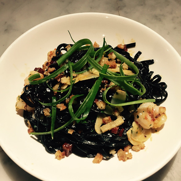 Linguini Nero with Rock Shrimp and Scallions