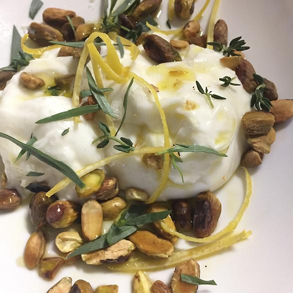 Burrata with Pistachio and Lemon