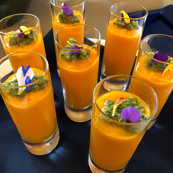 Carrot Soup Shot with Walnut Pesto