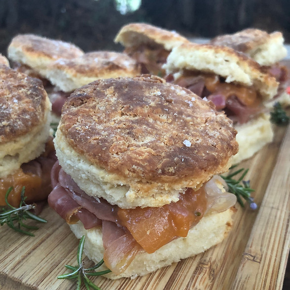 Buttermilk Biscuit with Country Ham and Peach Mostarda