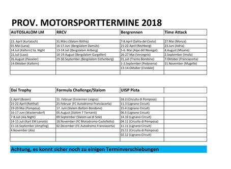 Motorsporttermine 2018