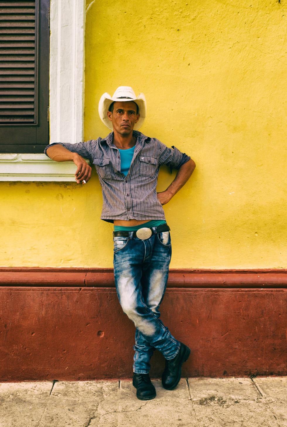 Cowboy with faded jeans, Trinidad, Cuba