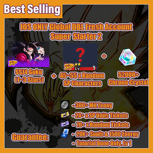 [Global   Ios ] Dragon Ball Legends FRESH Account Super Starter