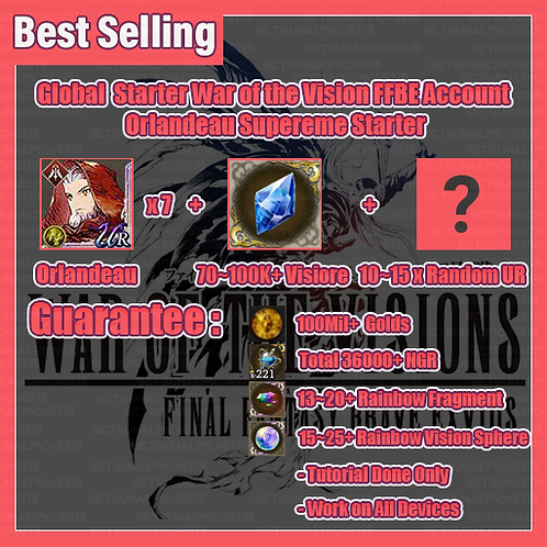 [Global] War of the Visions FFBE Account Supreme Starter Orlandeau