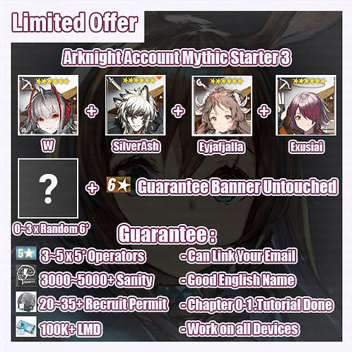 [Global] Arknights A9 Account Mythic Starter 3