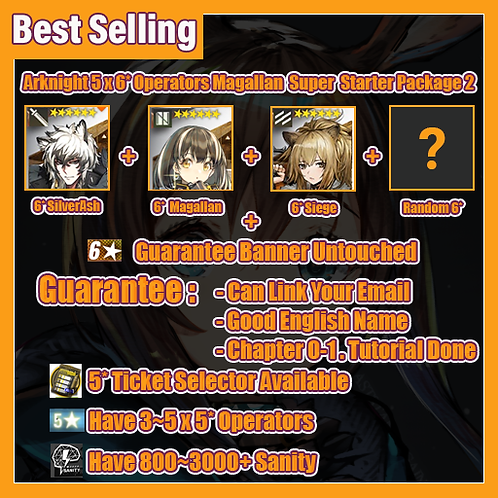 [Global] Arknights 5 x 6* Operators Magallan Super Starter Account Package 2