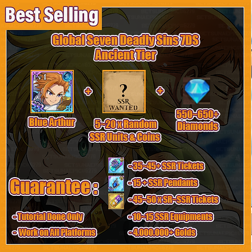 [Global/Asia] Seven Deadly Sins 7DS Starter Account Ancient Tier