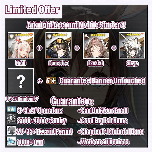 [Global] Arknights A9 Account Mythic Starter 4