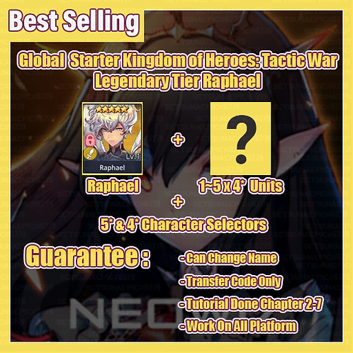 [Global] Starter Kingdom of Heroes Tactic War Account Light & Dark Raphael
