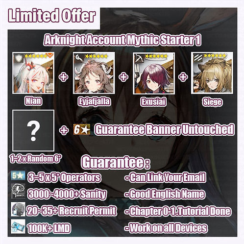 [Global] Arknights A9 Account Mythic Starter 1