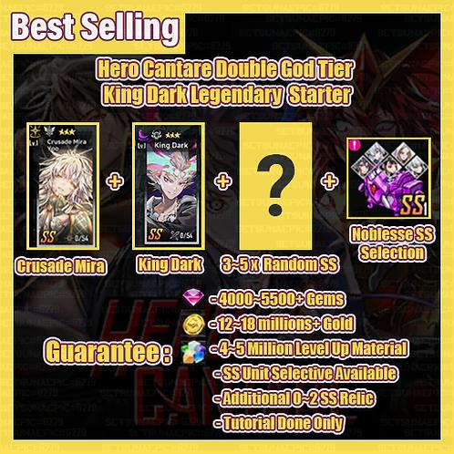 [Global] Starter Hero Cantare HC Account Double God Tier King Dark Legendary