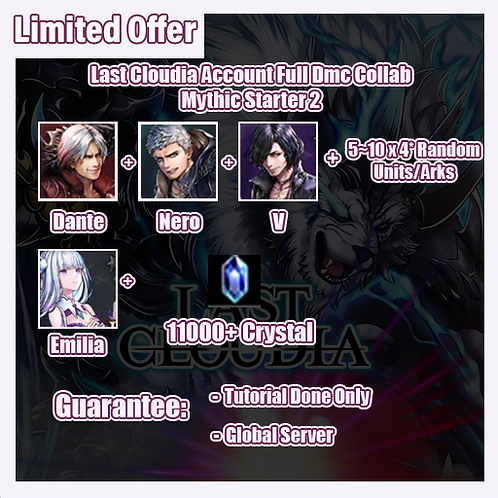 [Global] Last Cloudia LC Account Devil May Cry Collab Mythic Starter 2