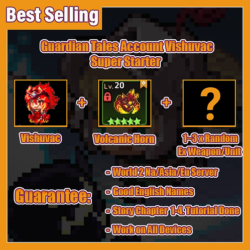 [NA/Asia/Eu] Starter Guardian Tales GT V Vishuvac Super Starter Account