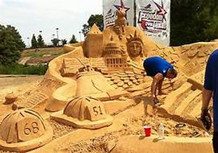 Sand sculpture of various objects