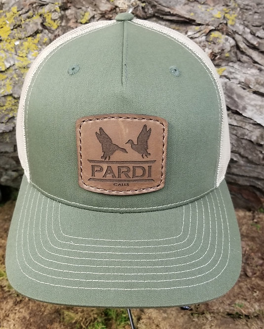 Pardi Leather Patch Hat - Olive Green / Khaki Mesh