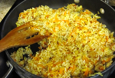carrot and celery root rice, brown rice recipe, rice with vegetables