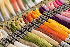 Haberdashery including DMC cottons at Country Threads quilting shop in Bath, UK