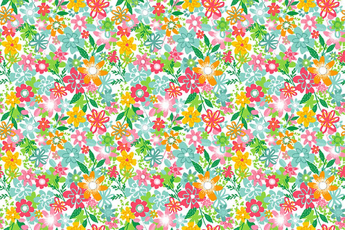 Fruity Friends Co-ordinating Fabric - Flowers