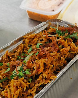 Chicken biriyani as a takeaway ready for delivery