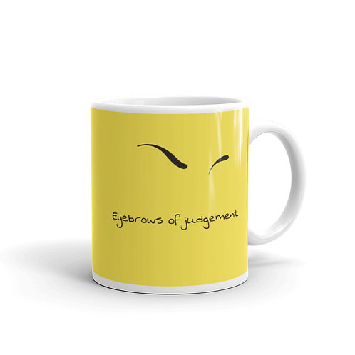 Eyebrows of Judgement Yellow Mug