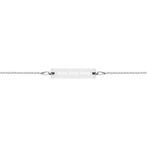 Thump Thump Thump Engraved Silver Bar Chain Bracelet