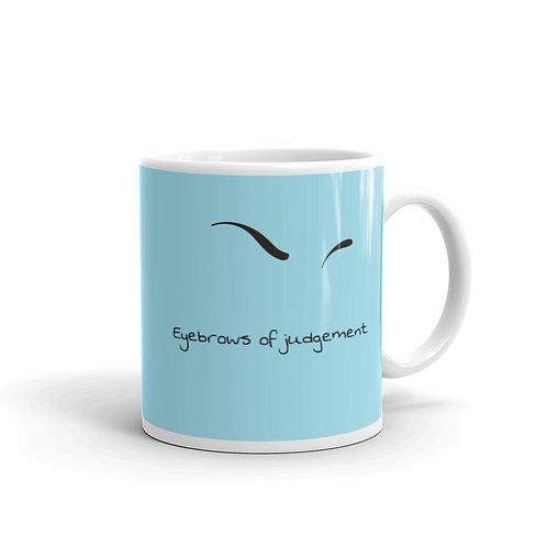 Eyebrows of Judgement Blue Mug