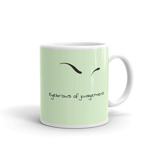 Eyebrows of Judgement Green Mug