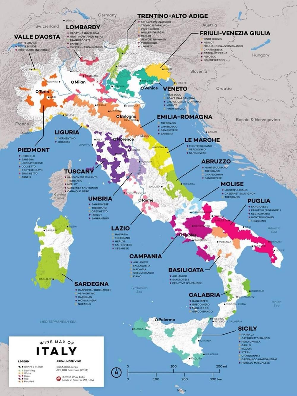 Mappa dei principali vitigni italiani