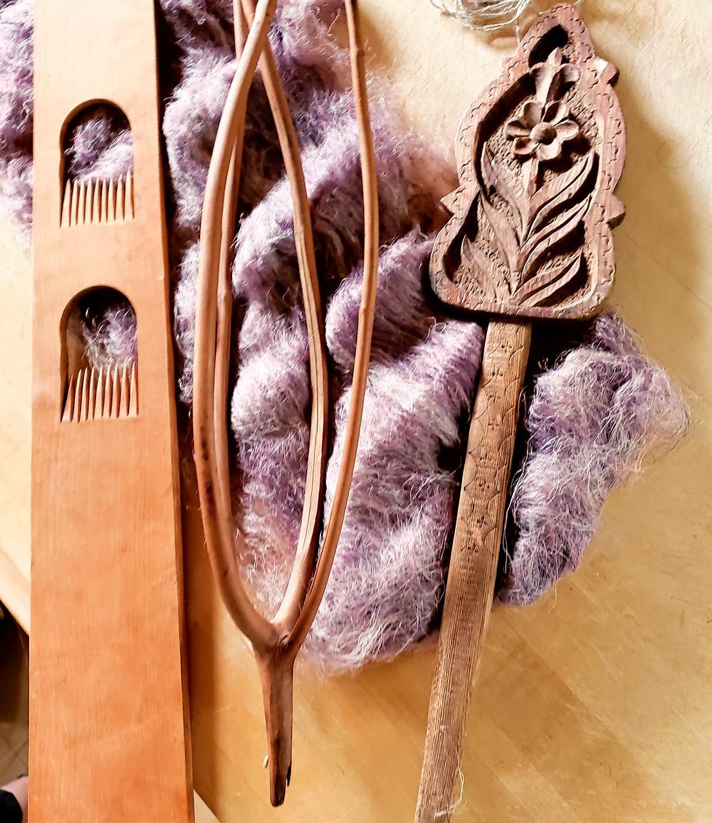 distaffs for flax weaving + flax fibers