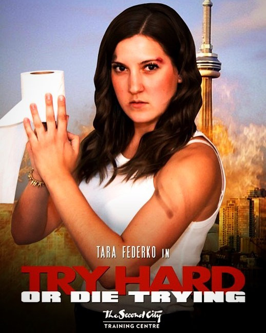 """Tara Federko in """"Try Hard or Die Trying"""", a Second City Toronto Conservatory Show"""