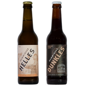 Bierflaschen mit Logo Hemminger Helles Dunkles