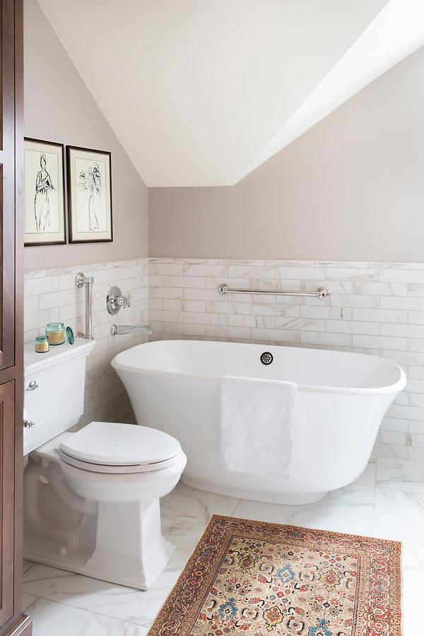Cava, Large floor tile, Marble, versatile gray paint, freestanding tub, signature hardware, chrome hardware, delta dorval, shiloh cabinetry, cherry cabinets, britannica gold cambria
