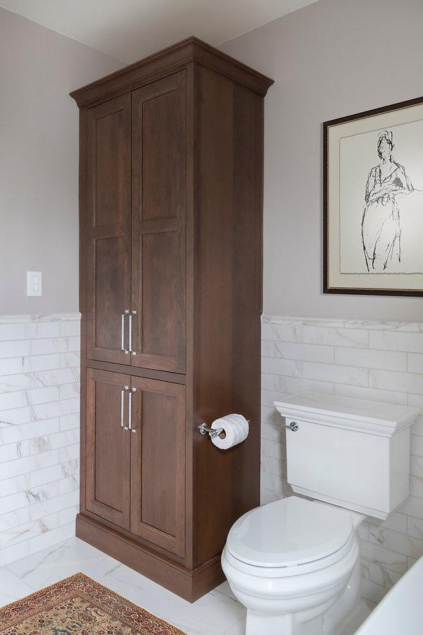 Cava, Large floor tile, Marble, versatile gray paint, freestanding tub, signature hardware, chrome hardware, delta dorval, shiloh cabinetry, cherry cabinets, britannica gold cambria4_1.jpg