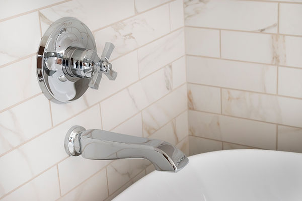 Cava, Marble, freestanding tub, chrome hardware, delta dorval, britannica gold cambria