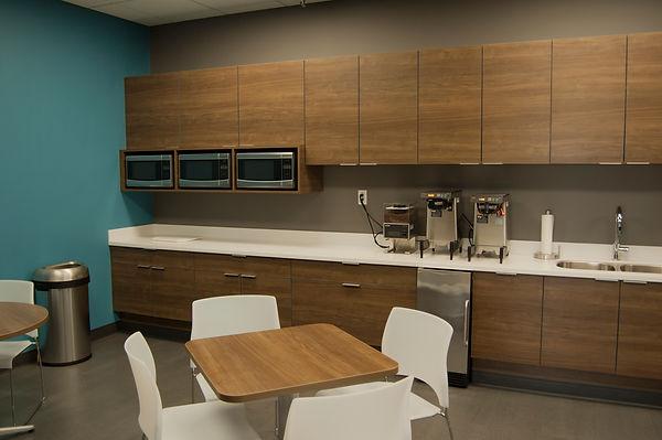 Breakroom, Public restroom, Lacava sink, Corian designer white, Tarkett flooring, Jeld-Wen, LaCantinaI, WP doors, Pinnacle walnut