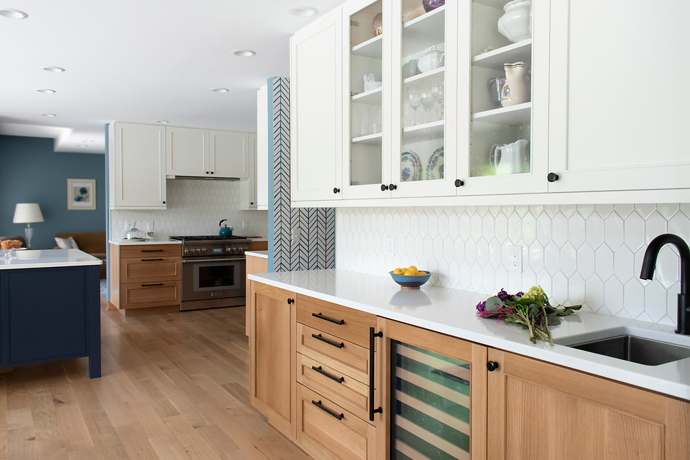 Plato White Painted Cabinets with Plato White Oak Cabinets