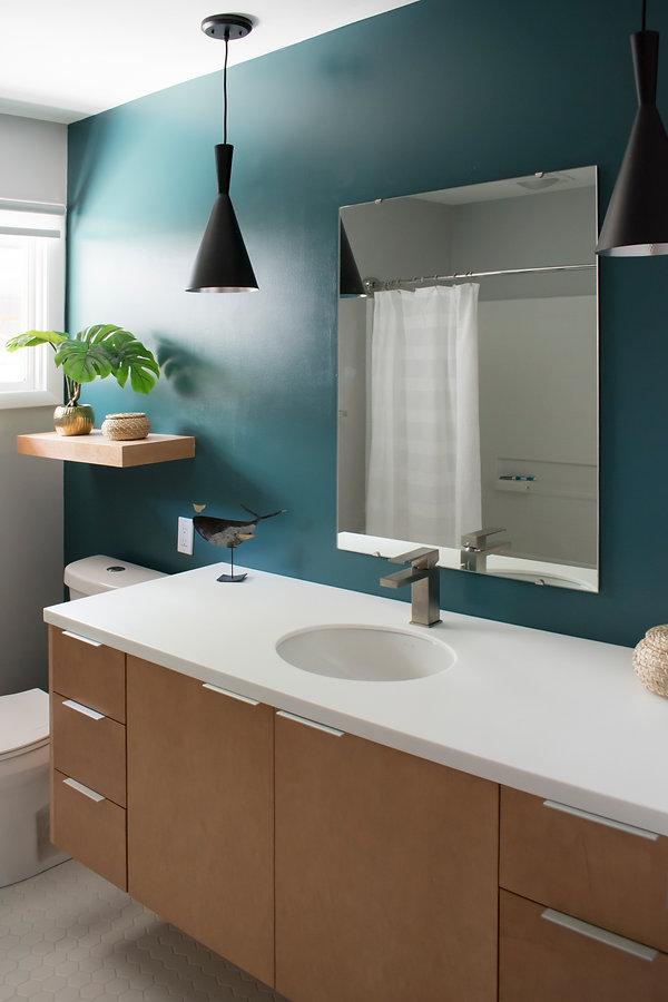 264Eclipse cabinetry, Lip Pull, Corian Cameo White vanity tops, Kohler Caxton sink, Delta Angular Faucet, Fireclay accent tile, Canarm Rocco 1 Light Cord Pendant.jpg