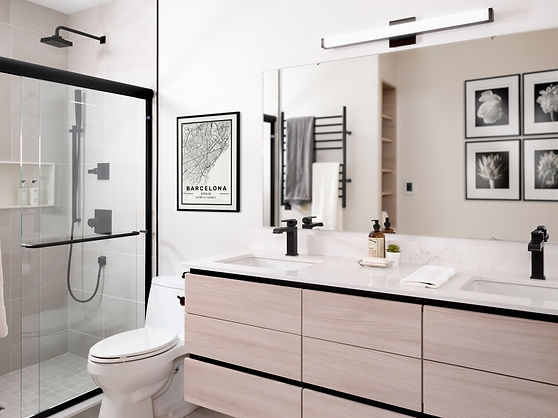 Modern Bath with Black Accents