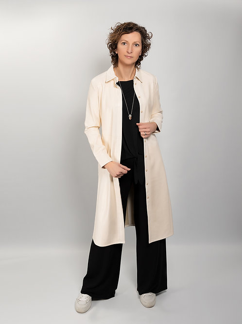 Leather-look long jacket