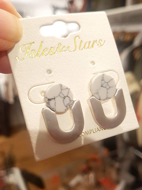 Isles and Stars marble effect arch earrings