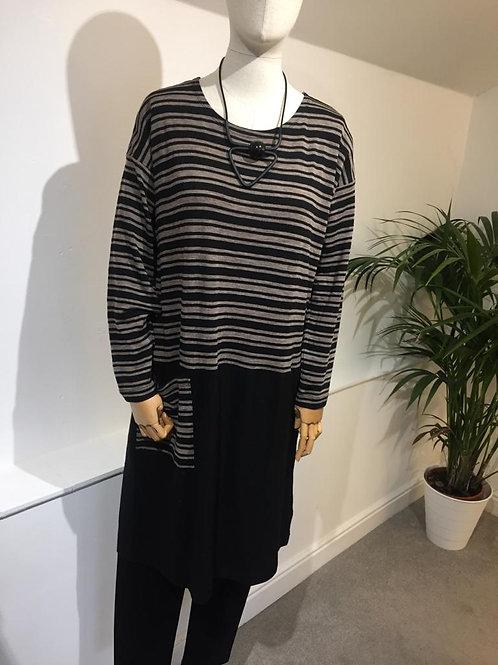 Foil Black/ Taupe striped shift dress