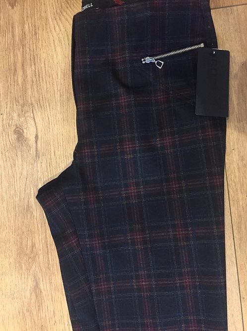 Robell tartan zip pocket trouser