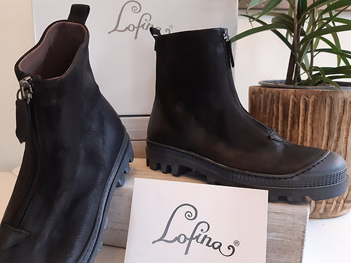 Lofina Leather Chunky Worker Boot with Front Zip