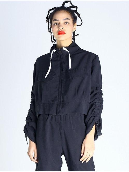 Lurdes Bergada boxy black jacket with adjustable gathered sleeves M20 104