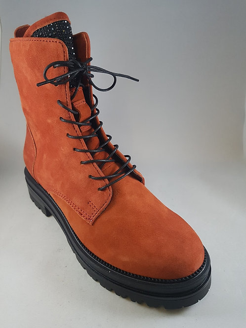 Mjus Suede Orange Ankle Boot With Zip