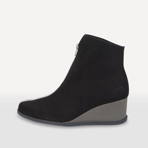 Arche Okolys wedge boot in black nubuck leather with feature zip