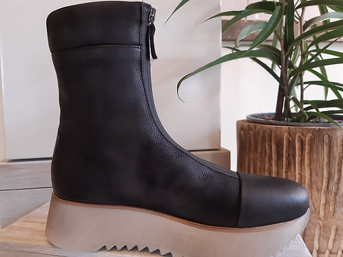 Lofina Black Leather Boot with Chunky White Sole